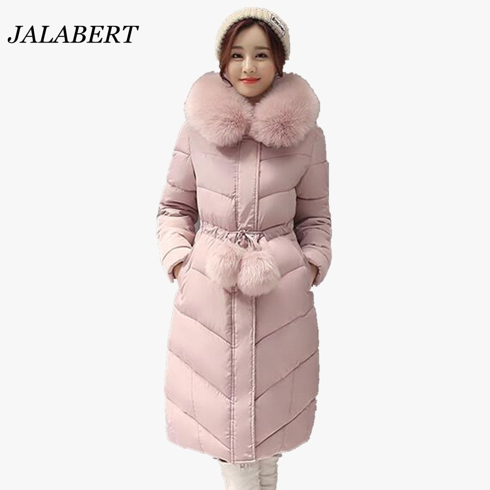 2017 women large fur collar long Slim parkas padded jacket female winter weatherization waist ladies coat with fur ball cotton