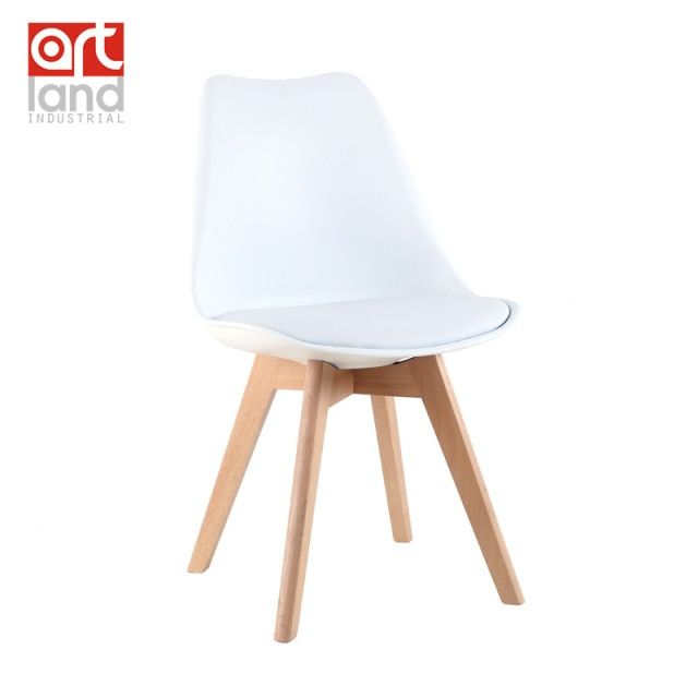 Upholstered plastic side chair with beech wood legs Dining chair leisure chair cheap free shipping door to door