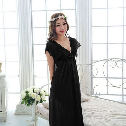 Free shipping women lace nightdress girls  long plus size bathrobe Large size Sleepwear nightgown  M1801-2