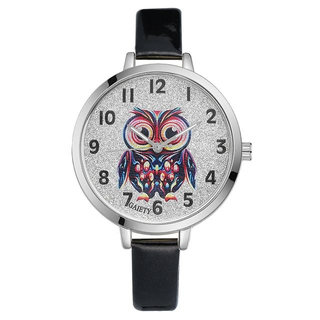 Gaiety New Fashion Sport Watch For Women Leather Strap Owl Dial Luxury Quartz Analog Ladies Silver Watch New Clock G217