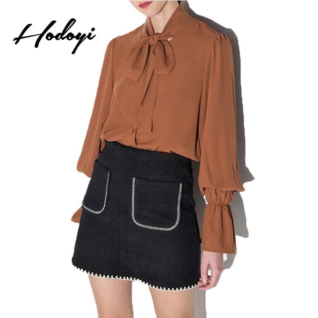 Hodoyi Women Fashion New Autumn Solid Deep Khaki Loose Casual Draped Shirt Lantern Sleeve Stand Collar Tie Front Blouse