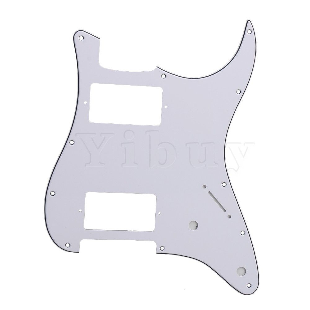 Yibuy Double Fat HH Layout Scratchplate 3-ply Electric Guitar Pickguard 11 Hole