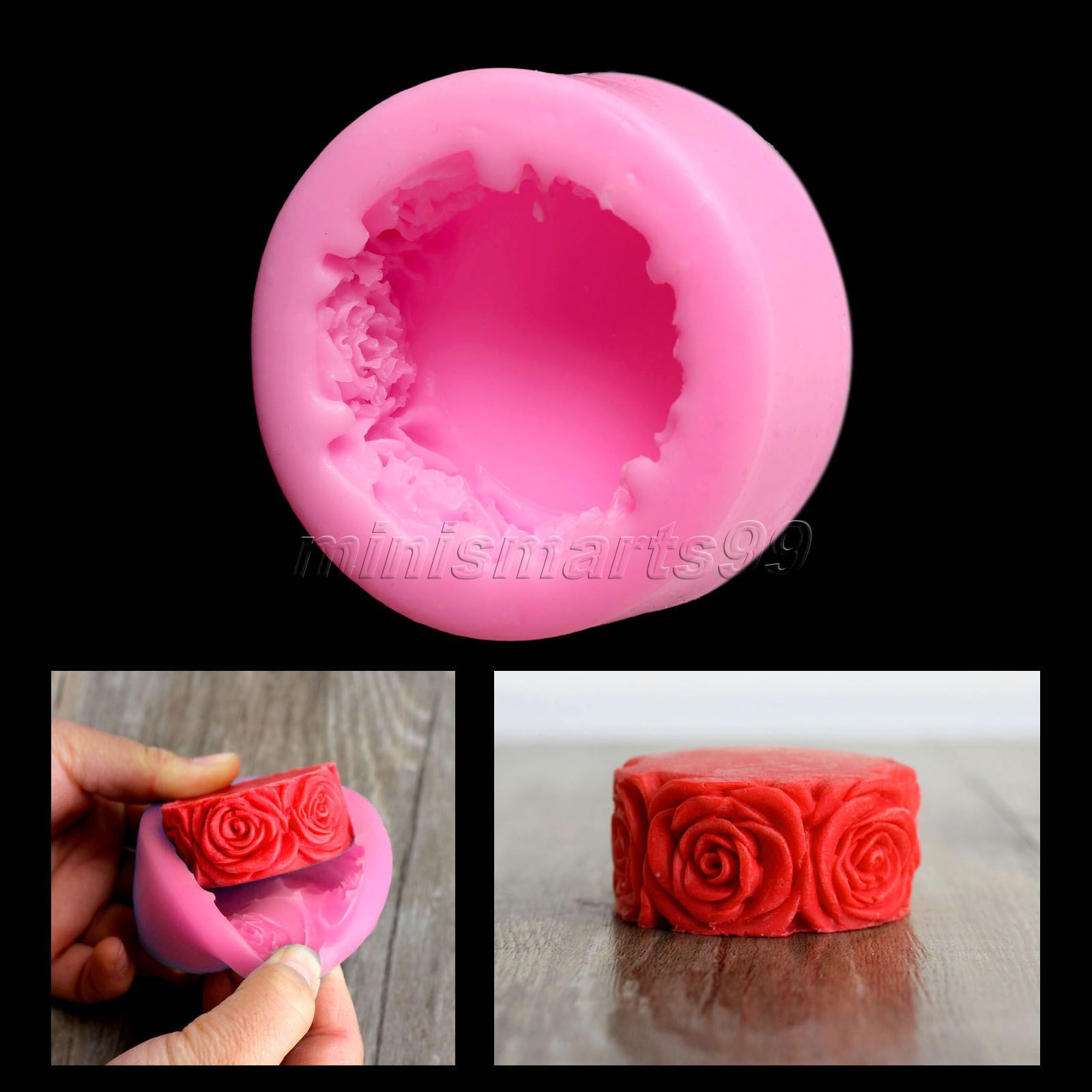 Nicole Rose Flowers Round Silicone Mold Forms for Soap DIY Crafts Mould Candle Molds Stampi In Silicone Cake Tools