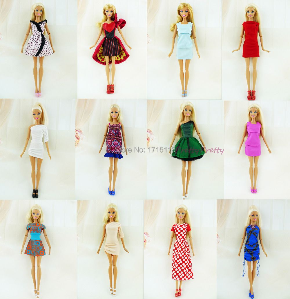 Randomly Pick Free Shipping 5 Sets New Handmade Party Doll's Dress Clothes Gown for Barbie best baby christmas Baby Toy