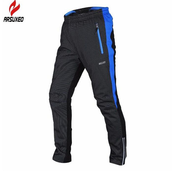 ARSUXEO Winter Warm Up Thermal Fleece Cycling Pants Thermal Fleece Windproof Bicycle Cycling Bike Racing Pants