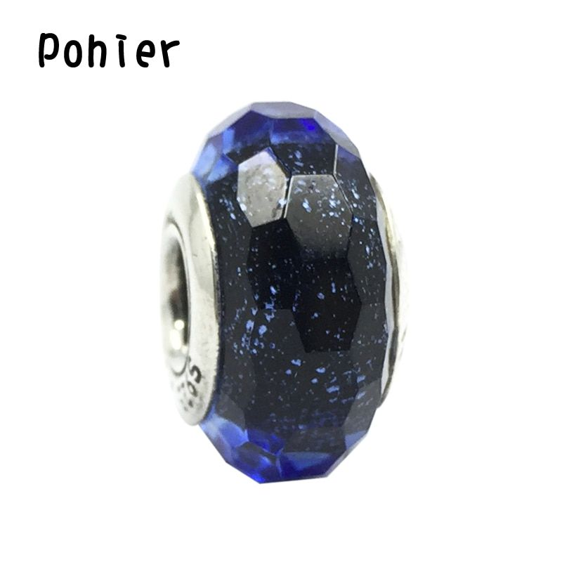 Faceted Iridescent Blue Murano Glass  925 Sterling Silver Charms  Beads Fit Pandora Charms Bracelets&Necklaces SP00034