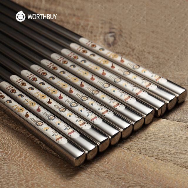 WORTHBUY 5 Pairs 304 Stainless Steel Chinese Chopsticks Skid-Proof Reusable Metal Chopstick Set Food Sticks For Sushi Tableware