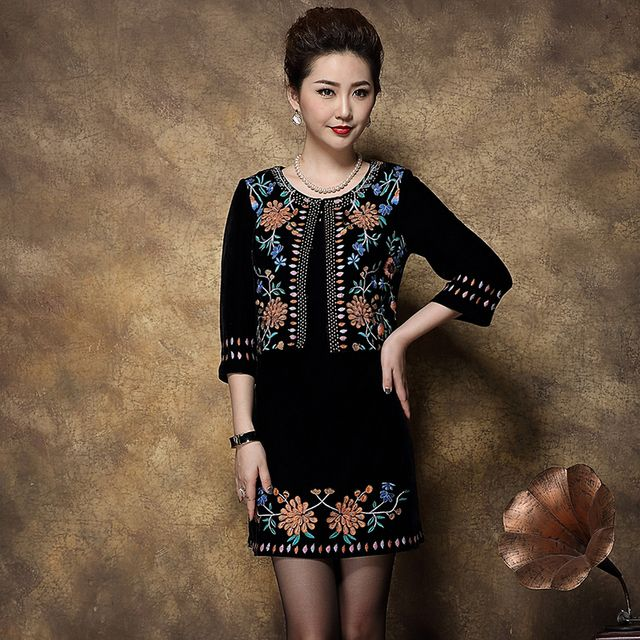 Twinset Retro 2016 Autumn Winter Hot Sale Fashion Full Embroidery Black Rivet Short Outerwear+Slim Tank Dress Women Suits