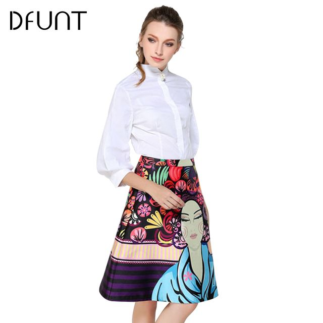 DFUNT Women Portrait Print Skirts Elegant Office Ladies Slim High Waist Skirts Vintage Jupe Clothing Faldas Saia Plus Size S-XL