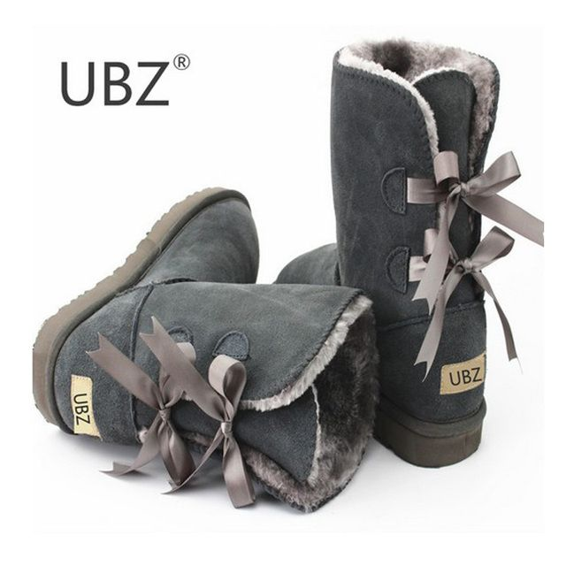 UBZ 2017 High Quality  Women Australia Snow Boots Sheepskin Fur Baileys Bow boots women winter boots snow boots big size