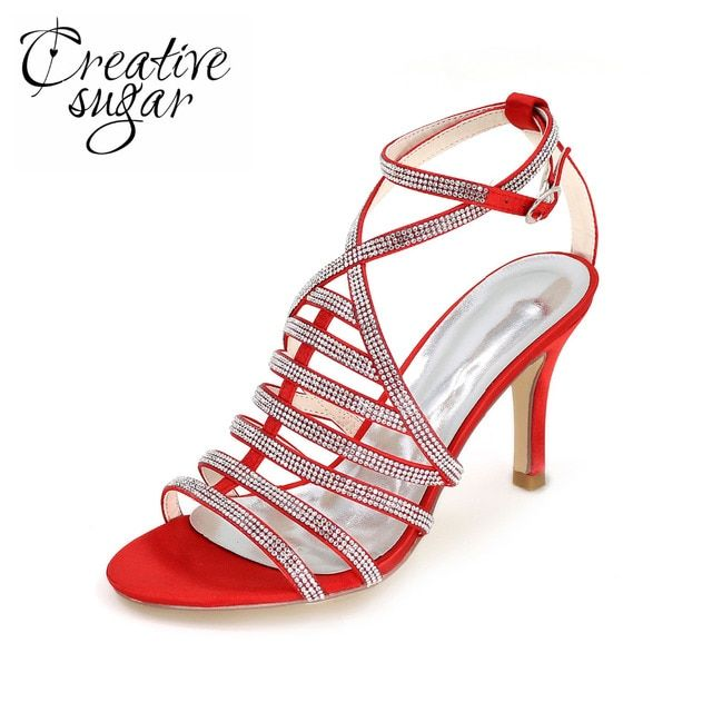 Creativesugar Sexy crossed strap rhinestone sparkle lady sandals 8.5cm heel summer dress shoes special style red silver purple