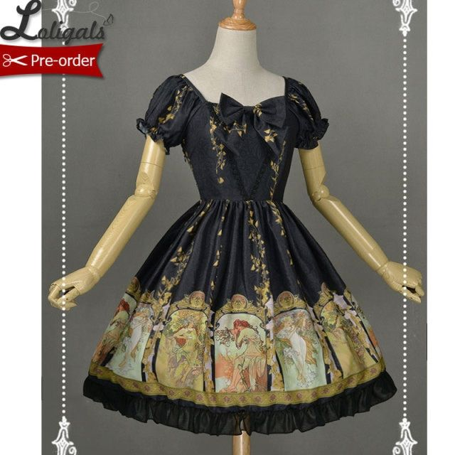 Short Sleeve Royal Style Lolita Dress Wonderful Season Printed Lolita OP Dress Custom Tailored