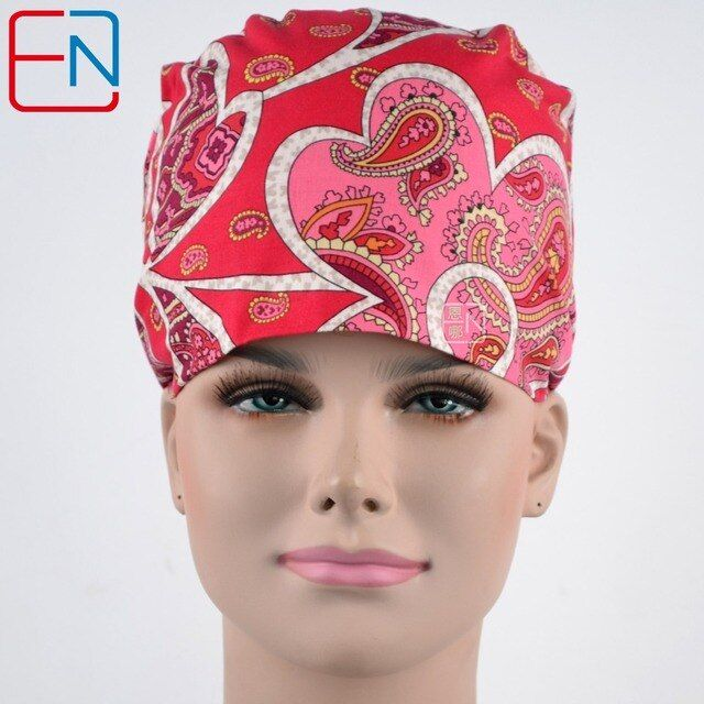 long hair Surgical caps doctors and nurses special hat and cotton print hair is pink mood free shipping