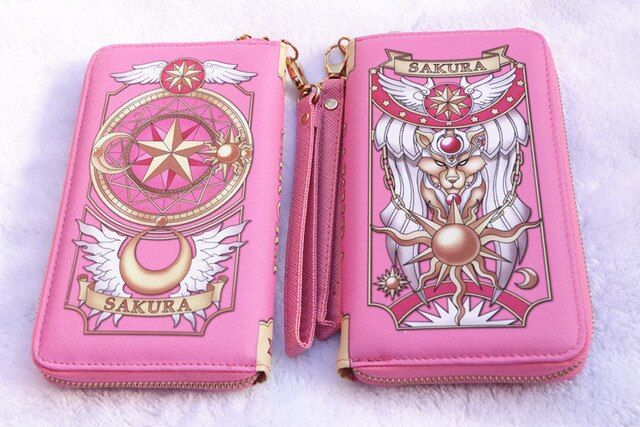 Cardcaptor Sakura Wallet Sailor Moon PU Magic Card Clow Card Girl Long Version Wallet Wine Red Pink