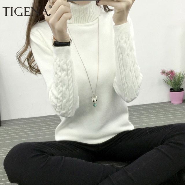 TIGENA Thick Warm Women Turtleneck 2018 Winter Women Sweaters And Pullovers Knit Long Sleeve Cashmere Sweater Female Jumper Tops