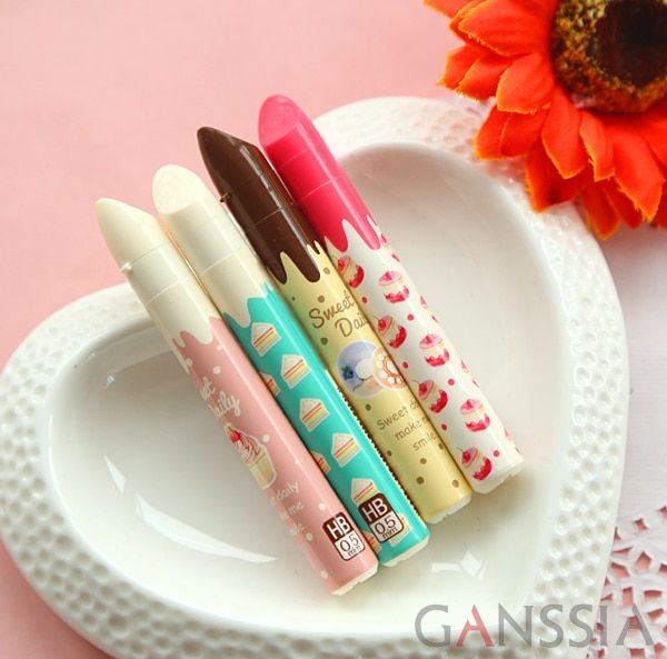 2pcs/lot Sweet lipstick design mechanical pencils lead School for writing pens office supplies stationery (ss-a937)