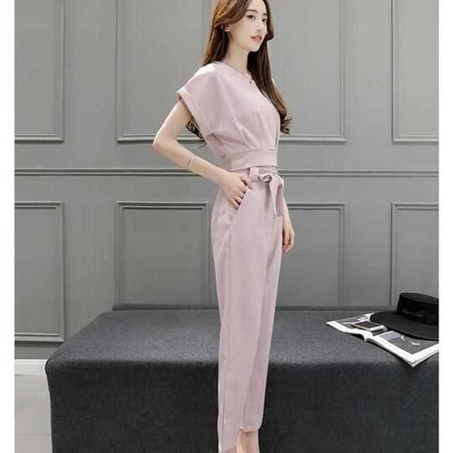 Women two-piece fashion suits pencil pants + short sleeve t-shirt summer new korea editionslim Female clothes set