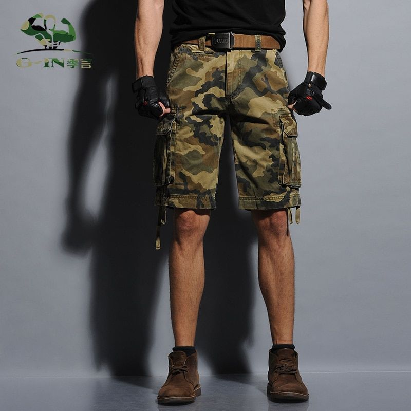 New 2016 Summer Army Cargo Shorts Men's Bermuda Fashion Short Loose Tooling Slacks Military Shorts