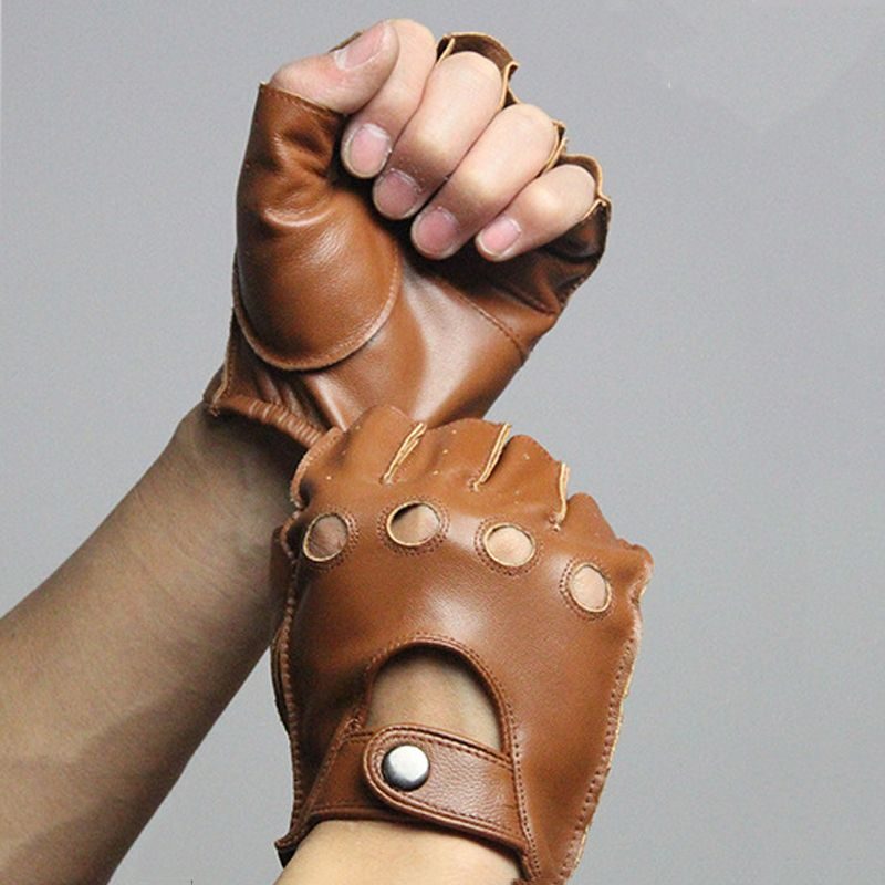 Svadilfari Spring Men's Genuine Leather Gloves Driving Unlined 100% Deerskin Half Finger Gloves Fingerless Gym Fitness Gloves