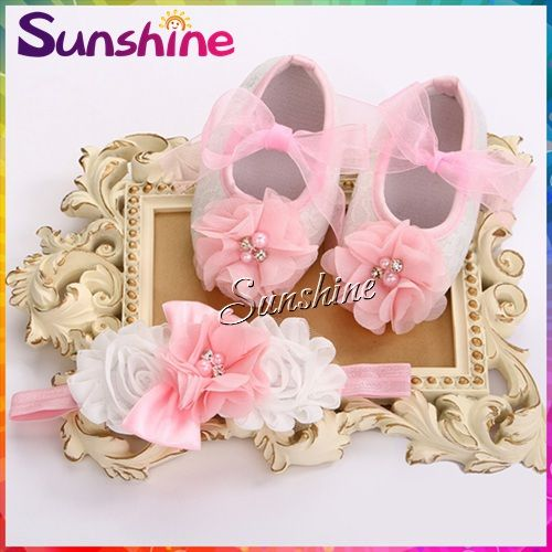 Baby flower girls shoes headband set,zapatos bebe,kids girl Rhinestone/pearl Baby shoes party Christening boots set 4 set/lot