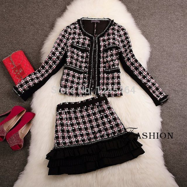wholesale high quality European style women dress suits fashion autumn&winter dress suit plaid OL suit dress 2 piece set women