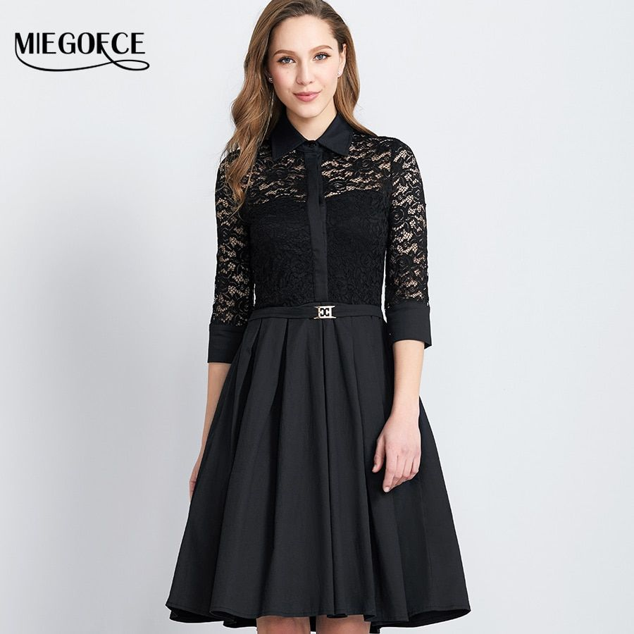 Spring Autumn Long Lace Dress Women's Tunic Work Casual Dresses 3/4 sleeve Bodycon Knee Office Dresses MIEGOFCE New Collection