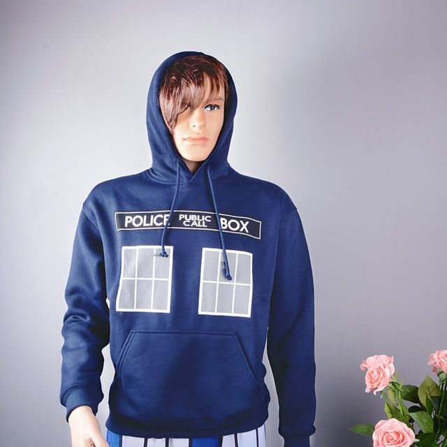 Doctor Who Call Box Window Adult Zip Hoodie Same Day Shipping