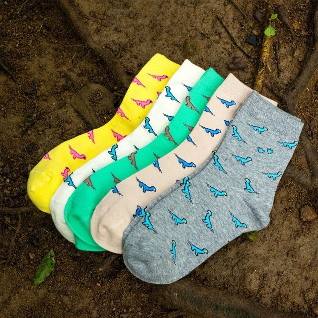 10Pairs/Lot 2016 New women socks Mini cartoon dinosaur socks wholesale fashion