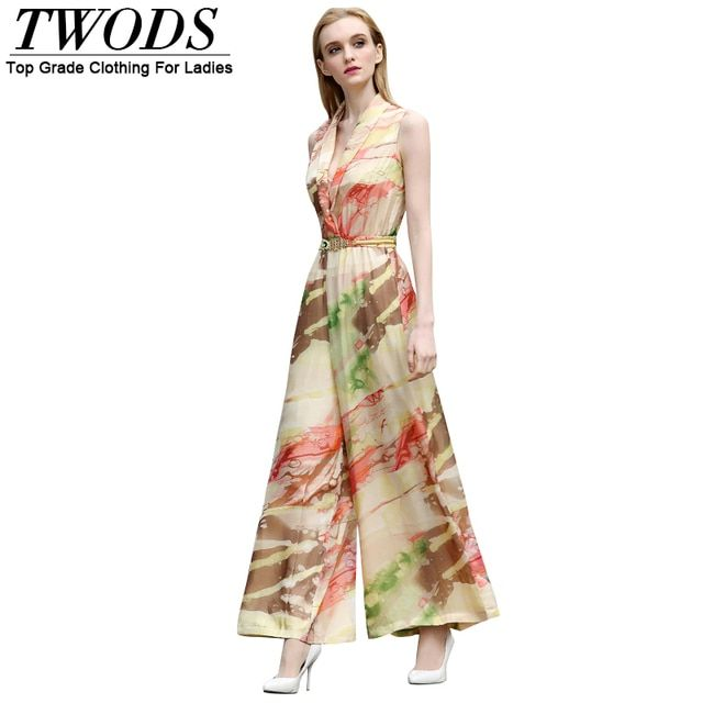 Twods S- XXL Women Wide Leg Rompers Deep Plunge Silk Print Summer Jumpsuits High End Quality Ladies Clothing