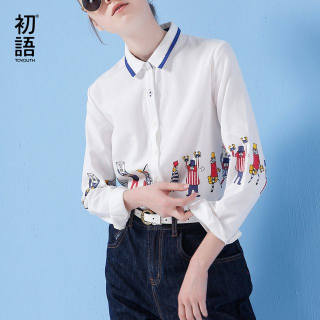Toyouth Long Sleeve Shirt Women 2017 Spring New Cartoon Print Shirt Casual Ladies Blouse Turn Down Collar Women Tops