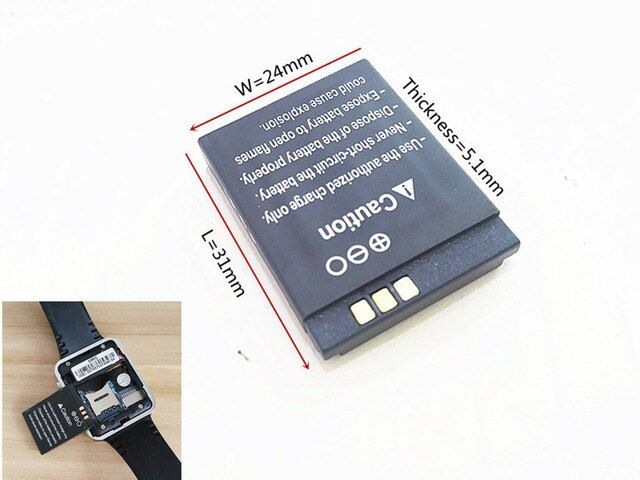 Original rechargeable Li-ion Battery 3.7V 380MAH Smart Watch Battery Replacement Battery For Smart Watch dz09 A1 V8 X6