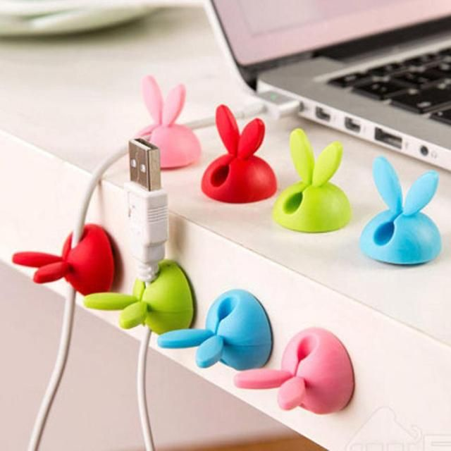 Cute Design 4pcs Cable Winder Lovely Rabbit Shaped Cable Wire Organizer Bobbin Winder Wrap Cord Office Solid Tool A28 Drop Ship