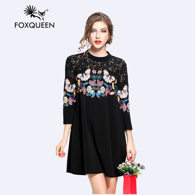 Foxqueen 2017 New Spring Fashion Women Loose Printing Black A-line Dress Large Size Plus 4XL 5XL High Quality Free Shipping 3107