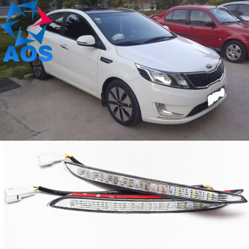 Turn off and dimming style relay LED Car DRL Daytime Running Lights for KIA K2 RIO 2012 2013 2014   with fog lamp