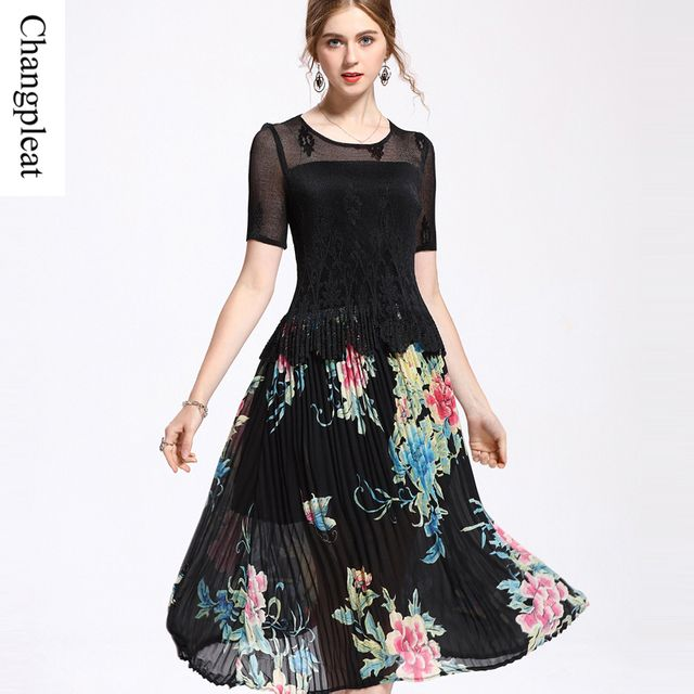 Changpleat Summer Florals Prints Dresses Pleated Lace stitching Elastic waist O-neck Short sleeve women's dress Plus Size C