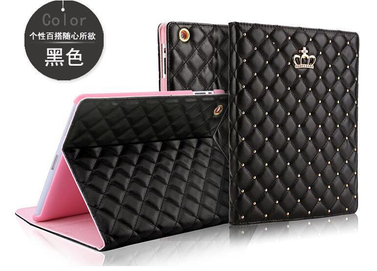 For Ipad Mini 1/2/3 Crown Diamond Leather Case For Ipad Luxury Soft  Leather Stand Smart Tablet Cover For Ipad Mini