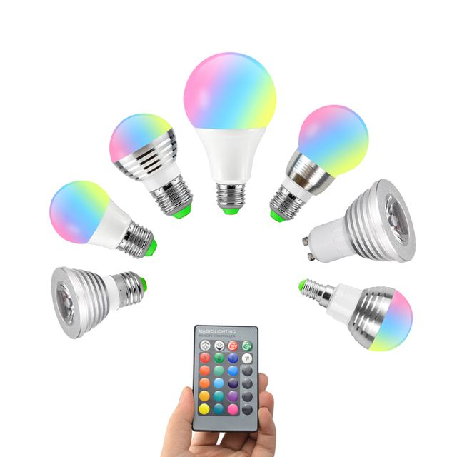 E27 E14 GU10 16 Color Changing RGB Magic Light Bulb Lamp 85-265V 110V 120V 220V RGB Led Light Spotlight + IR Remote Control