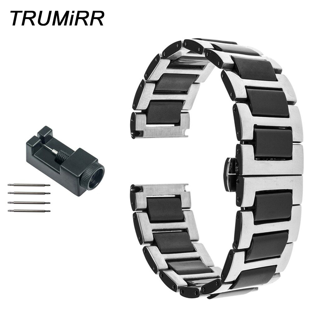 20mm 22mm Ceramic + Stainless Steel Watch Band for Diesel Men Women Strap Butterfly Buckle Belt Link Bracelet Black Gold White