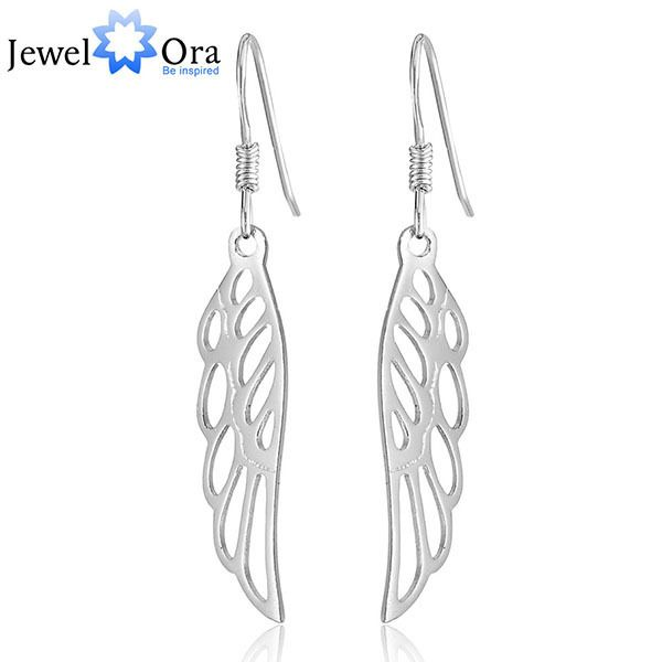 Vintage Silver Angel Wing  Earrings Fine Jewelry Feather Long Drop Earrings For Women 2016 (JewelOra  EA101467)