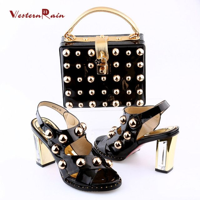 WesternRain Red wine patent leather high heels women wide with rivets matching bag set in the summer of 2018 for the ladies