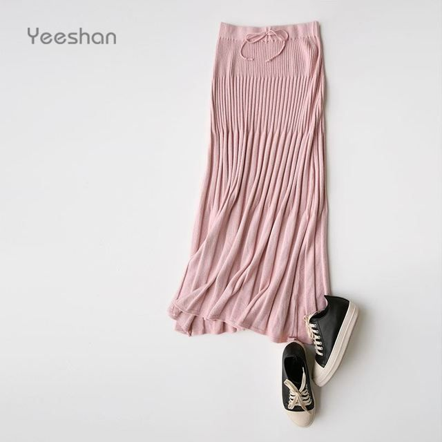 Yeeshan Wool Long Skirt Women Pleated Solid Knitted Winter Skirts High Waist Office Skirt Casual Classic Pink Women's Skirts