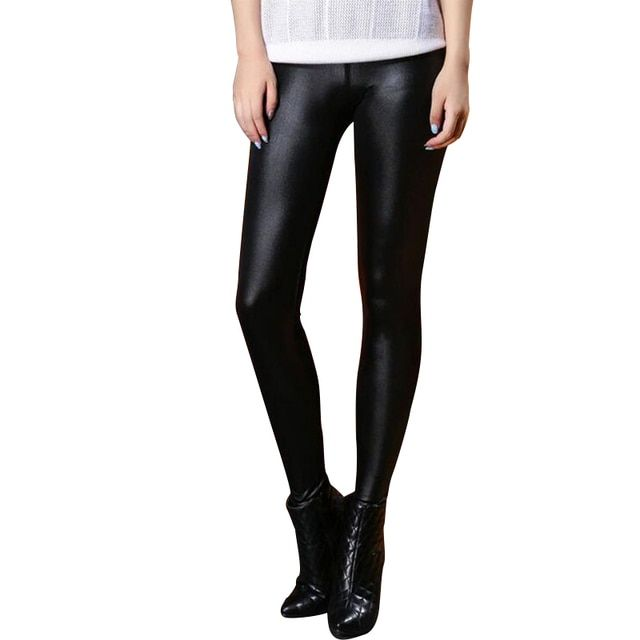 2017 Faux Leather Sexy Women Leggings Waist Skinny Slim Leggings Calzas Mujer PU Leather Winter Thin Stretchy Leggings Push Up