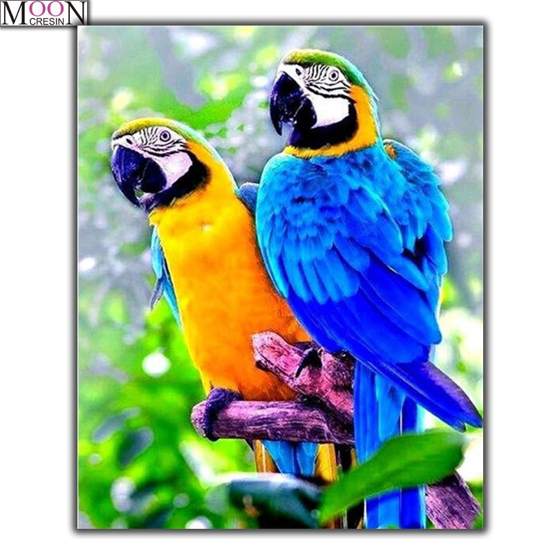 Diy Full Diamond Embroidery Colored Parrot Cross Stitch Painting 5D Square Accessories Decor Of Rhinestones Mosaic Sticker Bird