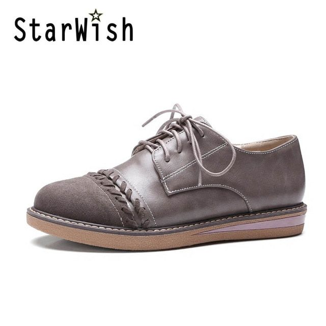 STARWISH New Women Casual Lace Up Flats Vintage England Style Patchwork Campus Shoes Ladies Daily Leisure Flat Shoes Size 34-42