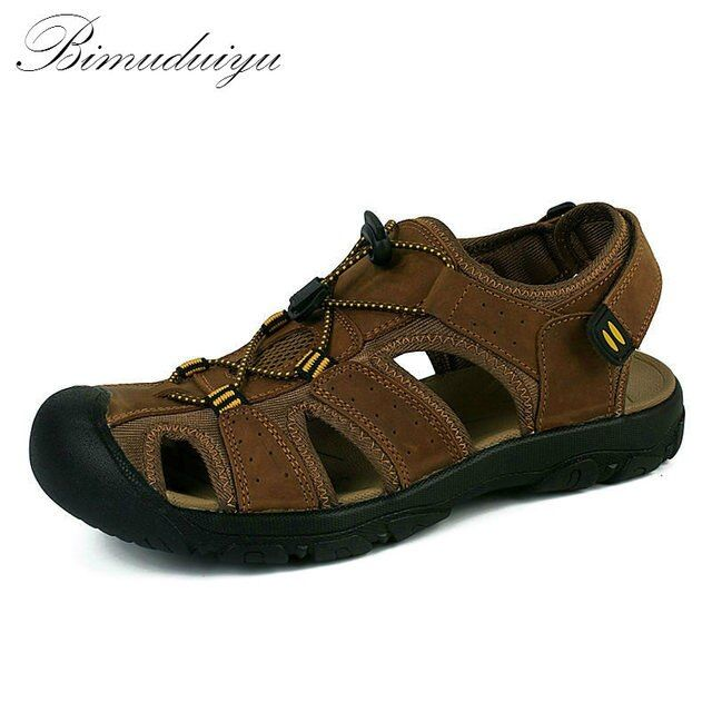 BIMUDUIYU Brand Toe Protect Men's Sandals Genuine Leather Soft Sole Casual Shoes Quality Summer Beach Shoes All Match Large Size