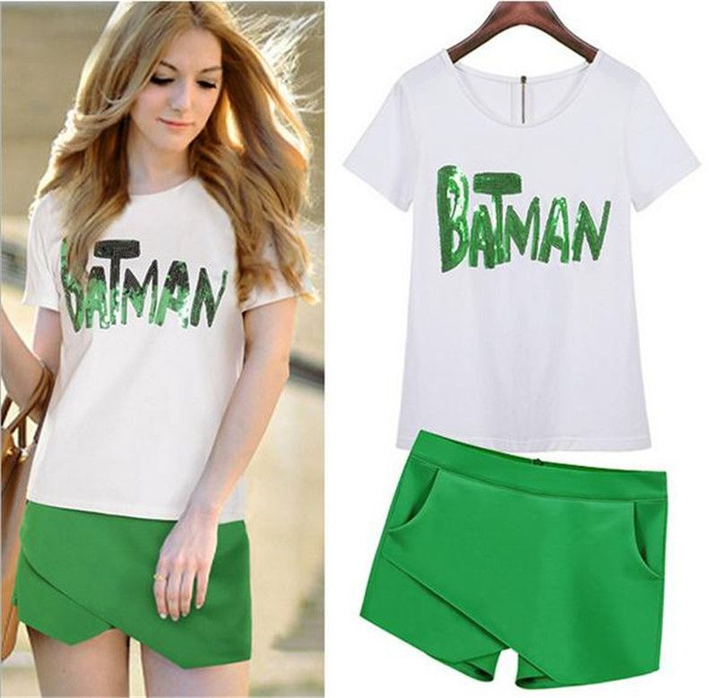 2016 Brand New Summer t shirt female white sequin tops t-shirt for women  Irregular shorts two suits Leisure fashion clothes
