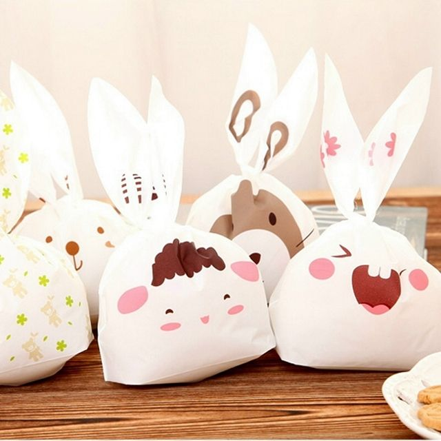 50pcs lot Rabbit Ear Cookie Bag Plastic Packaging Biscuit Candy Gift Bags Cute Cartoon Wedding Party Decoration XHH8053
