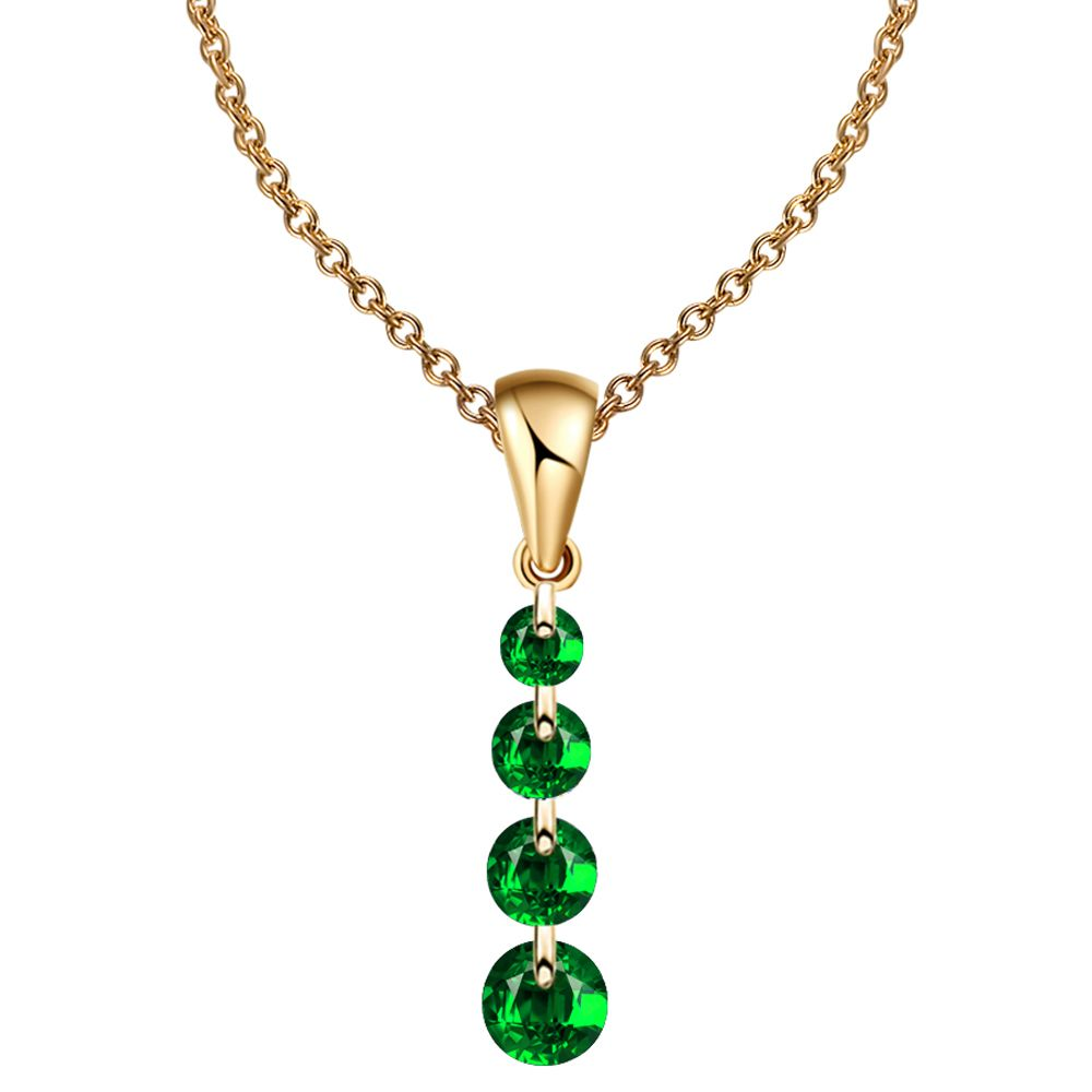 IF ME Fashion Green Color Women Gold Silver Color Crystal Chain Necklaces Pendants Chain Long Necklace Choker Women Jewelry Gift