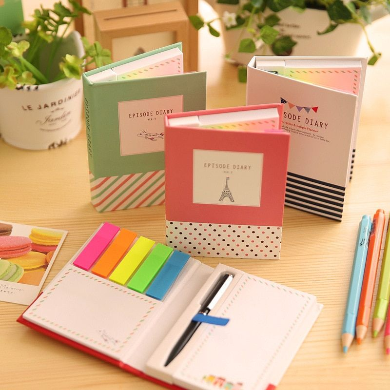 Creative Hardcover Memo Pad Notepad Sticky Notes  Stationery Diary Notebook Office School Supplies