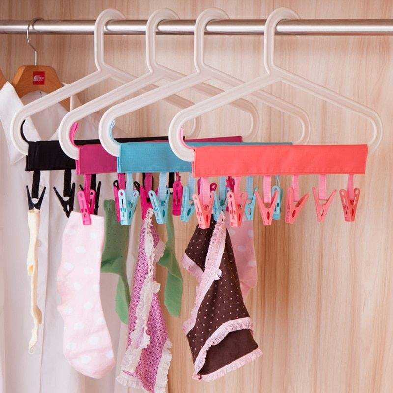 Athroom Windproof PP Clothes Pegs Folding Towel Socks Hanger Racks Foldable Clothes Indoor Outdoor Laundry Dryer Airer